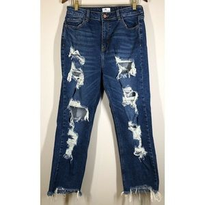 Cello High Rise Distressed Straight Leg Cropped Jeans Frayed Raw Hem 11 / 30